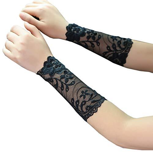 (Women Lace Wrist Cuff Bracelet Floral Stretch Wedding Wristbands Tattoo Cover 2 Pcs Set Flower Black)