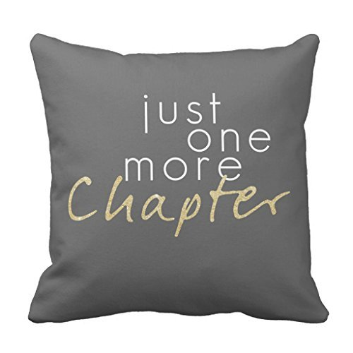 Just One More Chapter Decorative Throw Pillow Cover for Living Room Canvas 16 x 16 Square Throw Pillow with Zipper