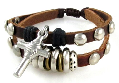 Christian Cross Leather Wrap Bracelet, Studded Design Adjustable, Gift Box