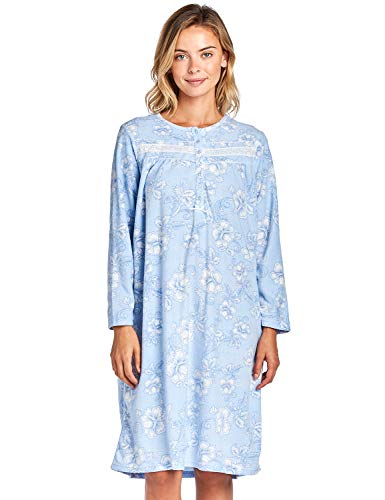 - Casual Nights Women's Long Sleeve Micro Fleece Cozy Floral Night Gown - Blue - Small