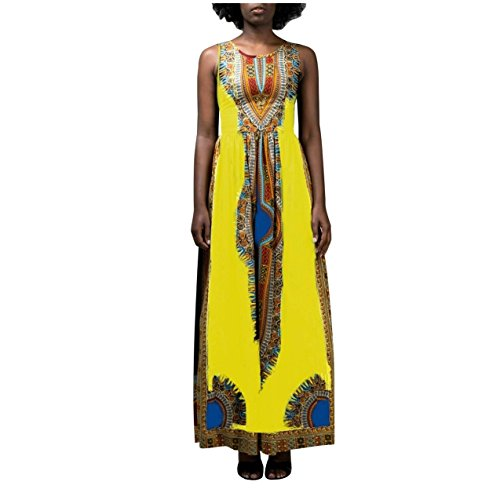 Coolred-femmes Dashiki Surdimensionné Africaine Robe Col Rond Maxi Imprimé Jaune