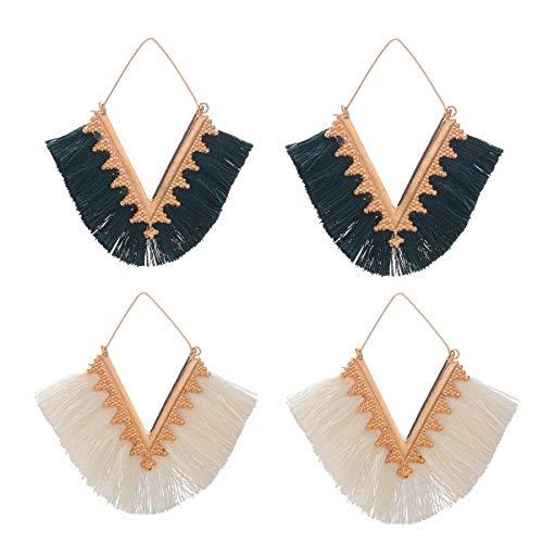 Silk Tassel Earrings V Shaped Tassel Dangle Earrings Handmade Fan Fringe Bohemian Geometric Triangle Drop Earrings 2 Pairs
