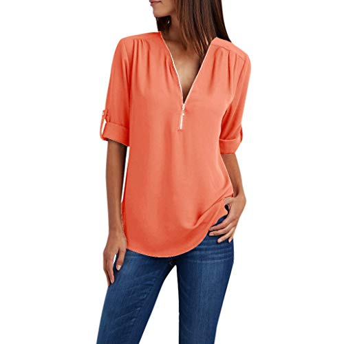 POQOQ Summer Tunic Top Women Zipper Long Sleeves Loose Chiffon Blouse Shirt(Orange,L) -