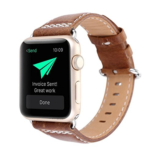 4b0c0aba2539 HP95(TM) Fashion Leather Wrist Watch Band Classic Buckle Belt Replacement  For IWatch Apple Watch 42mm (Brown 2)