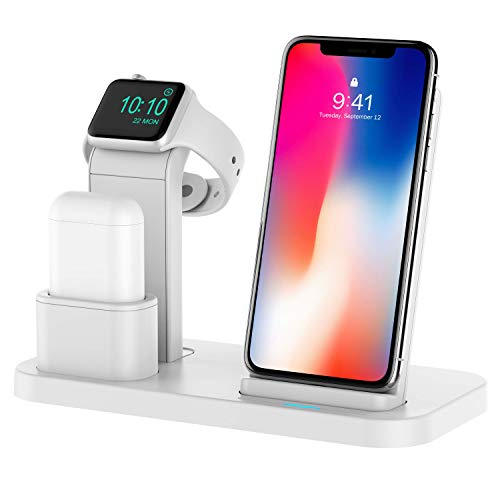 Conido 3 in 1 Charging Stand Compatible for Apple Watch and AirPods Phone Wireless Charger Charging Station Stock Holder Compatible for iPhone X/8 Plus/8 AirPods/Apple Watch Series 3/2/1 (3in1 White)