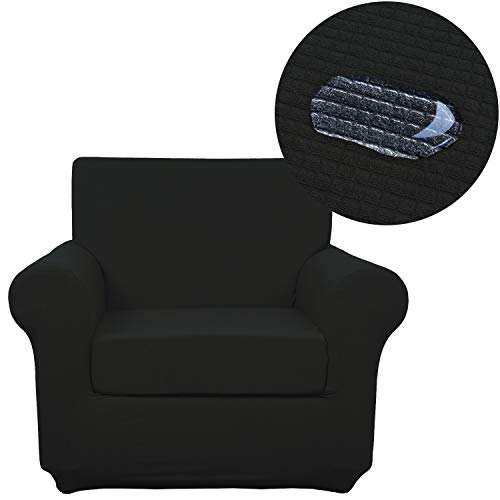 ANJUREN Chair Slipcover Water Repellent 2 Piece Arm Chair Sofa Cover Waterproof Replacement 1 Seater Cushion Armchair Couch Slip Cover Polyester Spandex Stretch Furniture Protector (Chair, Black)