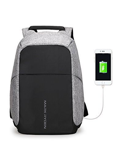 Theft Laptop Bags USB Charging Backpack Anti Business Laptop Inch Travel with Fits Most 6 Port Black School Under Ryden Grey Pack Mark 15 fdxwYwp