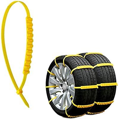 Jeremywell 10 PCS Emergency Anti-Skid Mud Snow Survival Traction Multi-Function Car Tire Chains Security Chains for Car Truck SUV Emergency Winter Driving Universal Tire Cable Belts: Automotive