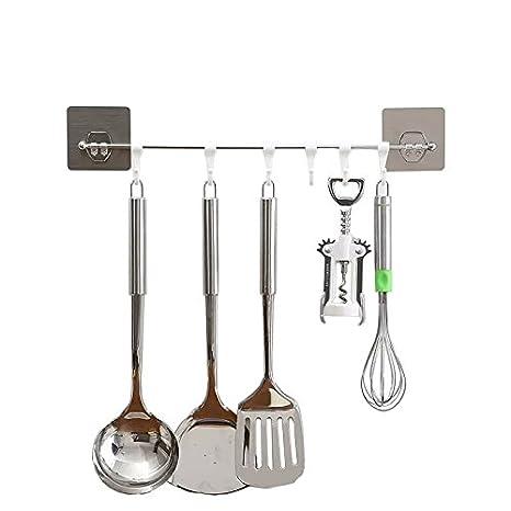 Barra Adhesivos de Cocina 6 Ganchos Barra de acero inoxidable Barra Organizador Estante de utensilios de cocina Impermeabilice Instalación Fácil No-rastro ...