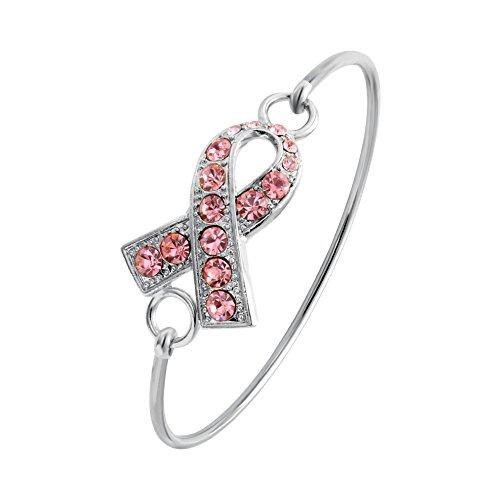 SENFAI Pink Ribbon Breast Cancer Support Survivor Bracelet Engraved Gift Jewelry for Cancer Survivor or Patient (Silver Color) -