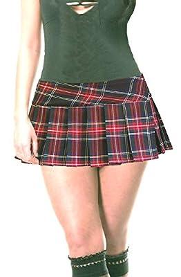 "Classic Black and Red Schoolgirl Tartan Plaid Pleated Micro Mini Skirt (9""-12"" Long) - Highland"