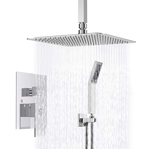 (SR SUN RISE SRSH-C1003 Ceiling Mount Bathroom Luxury Rain Mixer Shower Combo Set Ceiling Install Rainfall Shower Head System Polished Chrome (Contain Shower Faucet Rough-In Valve Body and Trim))