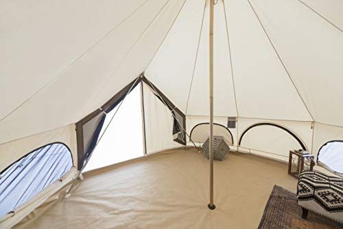 White Duck Outdoors Premium Canvas Bell Tent with UV Treatment, Fire Water Repellent, Stove Jack, Bug mesh for All Season Camping & Glamping