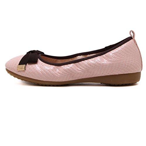 Scarpe Da Donna Aperte Weenfashion Con Punta Chiusa Con Decorazione Rosa (fiocchi)