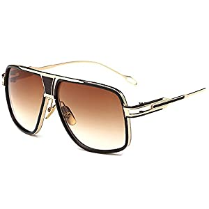 Kaimao Classic Aviator Sunglasses Metal Frame UV Protection Unisex Goggle Sunglasses with Case and Cloth - Gold and Dark Brown