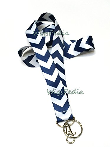 WigsPedia Chevron Neck LANYARDs Keychain for Key / ID Holder (Navy Dark Blue / White Chevron)  (Navy Dark Blue / White Chevron) (Navy Blue Lanyard)