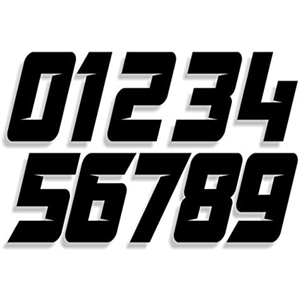 Amazon Com Mx Atv Number Plate Decals Set Of 3 Decals With Your Custom Number Color Choice Sliced Font Style 6s Automotive