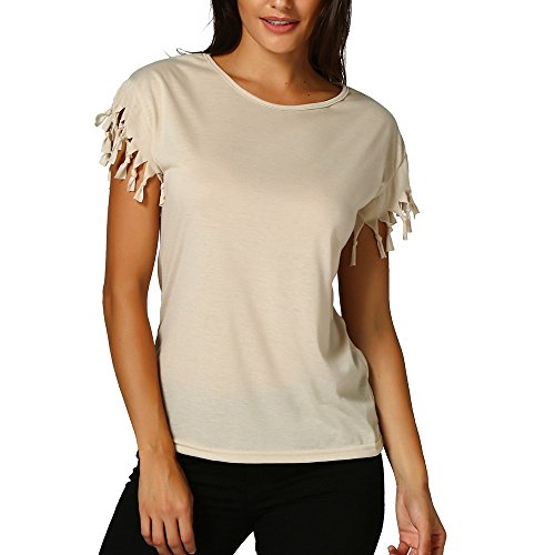 - Mysky Fashion Women Summer Sweet Tassel Short Sleeve T-Shirt Tops Ladies Casual Pure Color Loose Blouse Tee Khaki