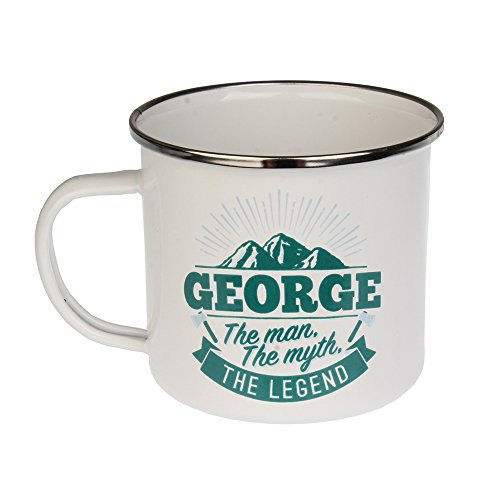 H & H Top Guy Mug George, Large Camping Coffee Mug, Enamel, 14 oz, Multi-Colored, Light-weight, Retro Inspired for Men