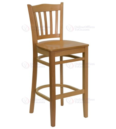 HERCULES Series Natural Wood Finished Vertical Slat Back Wooden Restaurant Bar Stool