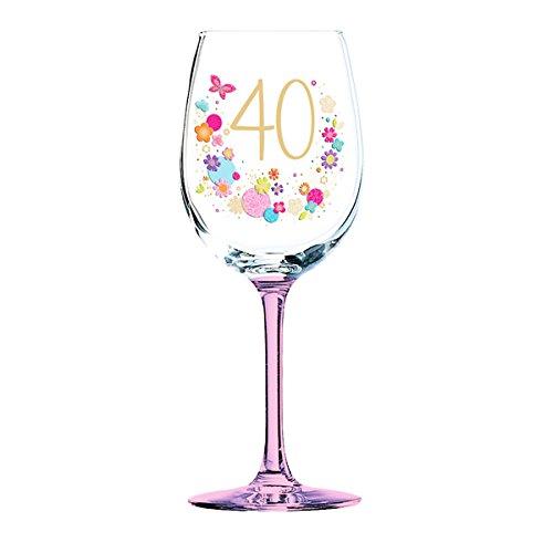 Bloom Collection Copa de Vino de cumpleaños 40: Amazon.es: Hogar