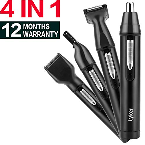 Nose Hair Trimmer Ear Hair Trimmer for men, Electric Hair Trimmer/Hair Clippers 4 in 1, Professional Trimmer for Nose, Ear, Eyebrow Brow, Sideburn, USB Rechargeable Waterproof, Wet/Dry(Black)