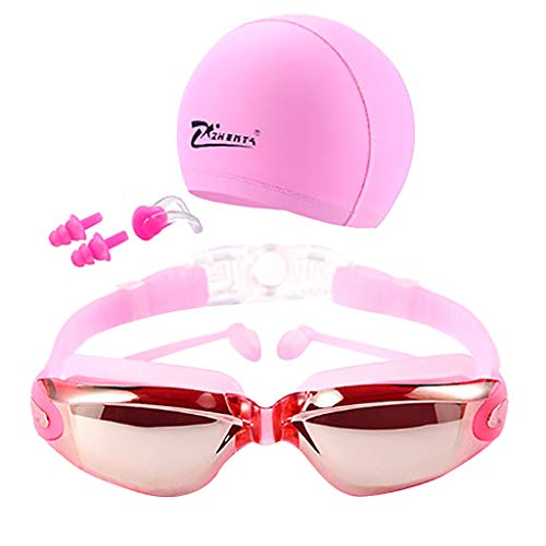 (CapsA Swim Goggles Swimming Goggles Anti-Fog UV Protection Coated Lens No Leaking with Swim Cap Nose Clip Earplugs Case for Men Women Adult Youth Kids (Pink))