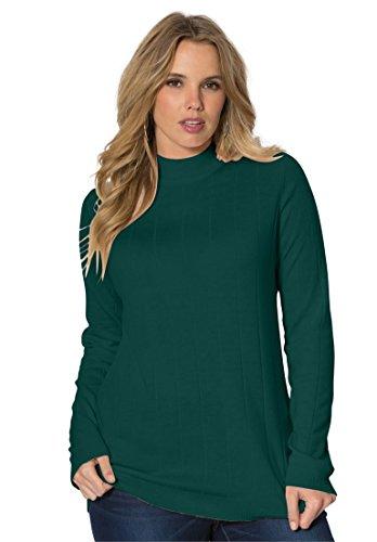 Roamans Women's Plus Size Fine Gauge Mock Neck Sweater – Small, Emerald Green