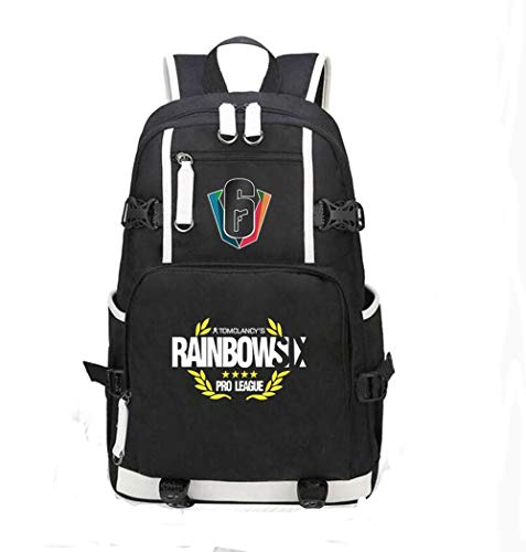 Rainbow Six Siege USB Charging Port Black Oxford Backpack Free R6 Keychain (#4)