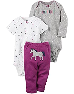 Baby Girls' 3-Piece Unicorn Set