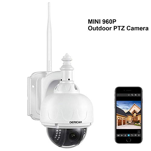 Dericam Outdoor Wireless Security Camera, PTZ Camera, 4X Optical Zoom, Auto-Focus, 1.3 Megapixel, Pre-Installed 32GB Memory Card, S1-32G White