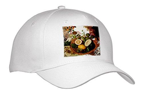 3dRose TDSwhite - Farm and Food - Food Healthy Fruits Vegetables Basket - Caps - Adult Baseball Cap (Cap_285155_1)