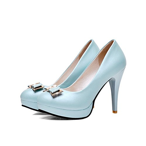 Allhqfashion Womens Pull On Spikes Stilettos Pu Tondi Tondi Scarpe Chiuse Scarpe-blu
