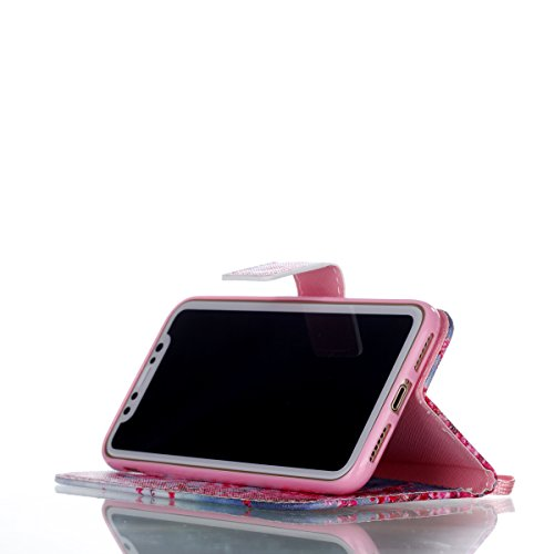 Coque iPhone X Branches rouges Portefeuille Fermoir Magnétique Supporter Flip Téléphone Protection Housse Case Étui Pour Apple iPhone X / iPhone 10 (2017) 5.8 Pouce + Deux cadeau