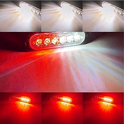 DIBMS LED Emergency Strobe Lights, 8x Red White 6 LED Strobe Warning Emergency Flashing Light Caution Construction Hazard Light Bar For Car Truck Van Off Road Vehicle ATV SUV Surface Mount: Automotive