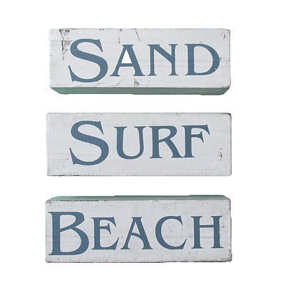 SAND SURF BEACH 4 block Self Standing Signs 18cm Vintage Style White Wash Finish ()