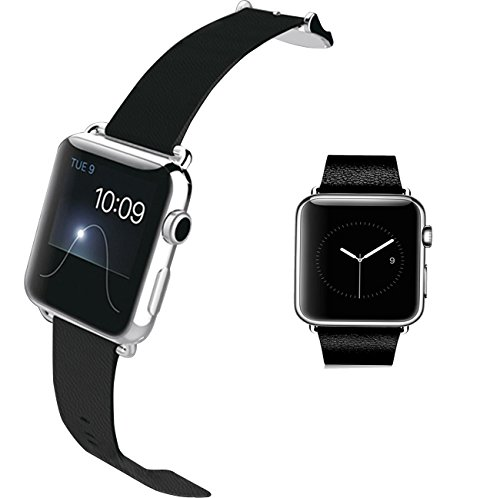 Black Genuine Leather Strap for Apple Watch 38 mm Classic Buckle & Modern Buckle (38mm/black)