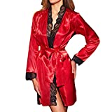 Lace Lingerie for Women Sexy Long Silk Kimono Dressing Gown Babydoll Bath Robe Red M