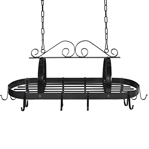 Victorian Elegant Classy Durable Kitchen Hanging Wrought Iron Pot Rack Kitchen Storage Unit For Hanging Pots And Pans In Your Beautiful Kitchen
