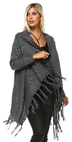 Zoozie LA Women's Cowl Aztec Cardigan Tribal Sweater Ponchos Gray Charcoal S/M -