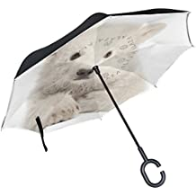 ALAZA Cute White Polar Bear Cubs Inverted Double Layer Windproof Reverse Umbrella