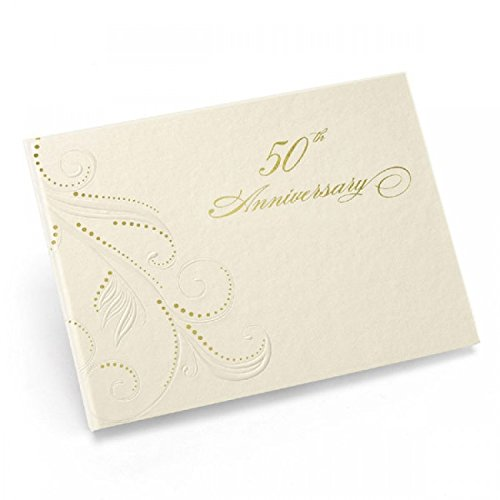 50Th Anniv Swirl Dots Guest Book *** Product Description: Ivory, Spiral-Bound Guest Book With Pearl-Embossed Flourishes, Gold Foil Accents And