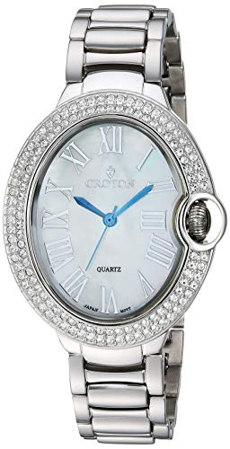 CROTON Women's Quartz Watch with Stainless-Steel Strap, Silver, 15.6 (Model: CN207566RHMP) Croton Womens Mother Of Pearl