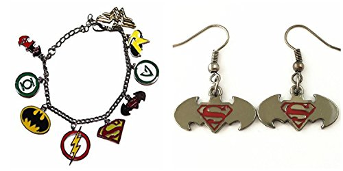 J&C Family Owned DC Comics Theme The Justice League Bracelet Logo and The Dark Knight vs The Man of Steel Logo 2-Pack Bracelet and Earring Gift Sets With Gift Box for $<!--$14.97-->