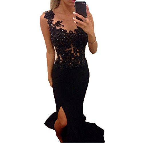 QueenBridal Simple 2017 New Mermaid Prom Party Dresses with Lace Side Split