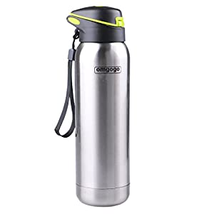 Omgogo Double Wall Insulated Water Bottle, Stainless Steel, 16 oz.
