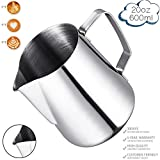 Milk Frothing Pitcher, Stainless Steel Latte Art Creamer Cup Silver 20 oz (600 ml) for Espresso Machines,Mirror Finished