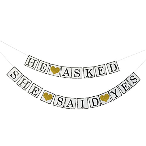 He Asked She Said Yes Gold Glitter Banner - Engagement Bridal Shower Party Decorations - Photo Props Signs (Engagement Decorations)