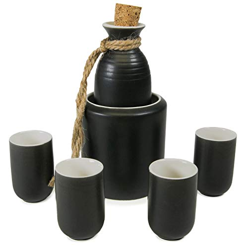 (CoreLife Sake Set with Warmer, Traditional Ceramic Mini Japanese Sake Set with Sake Serving Bottle, 4 Sake Cups, and Warmer (Black))