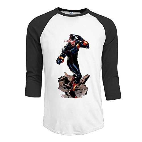 Duola Men's Baseball 3/4 Sleeve Raglan Tshirt X Movie Character Size L Black (Create A Monster High Character)